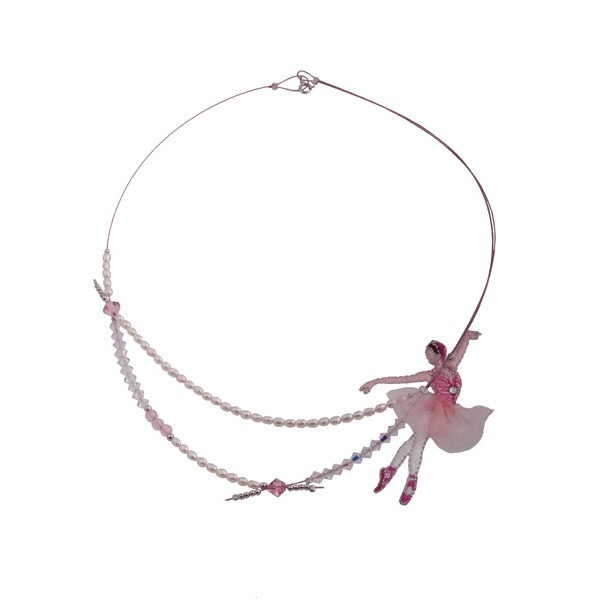 Jt Ασημένιο κολιέ μπαλαρίνα με ροζ Swarovski και μαργαριτάρια