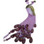 Jt Purple silver peacock necklace with amethyst, quartz, pearls