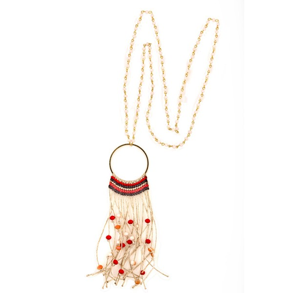 Jt Handmade boho style beige necklace with crystals