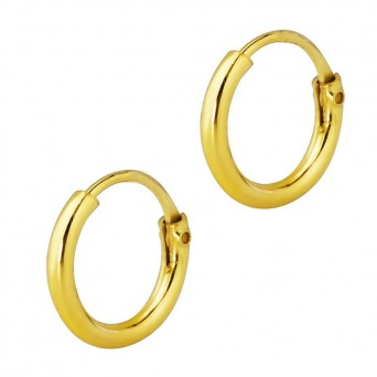 Jt Very small men's gold plated silver hoop earrings