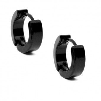 Jt Men's small black stainless steel hoop earrings 1.2cm