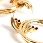 Jt Statement double gold plated metal hoop earrings 4cm