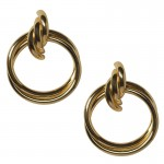 Jt Statement double gold plated metal hoop earrings 4cm