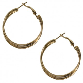 Jt Twisted thick gold plated metal hoop earrings 3.5cm