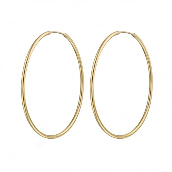 Jt Plain gold plated silver hoop earrings 4.2 cm