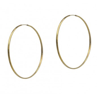 Jt Plain very thin gold plated silver hoop earrings 6cm