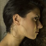 Jt Big plain very thin gold plated silver hoop earrings 7cm