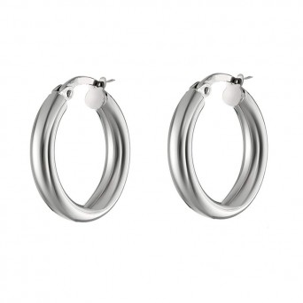 VFJ Small thick silver hoop earrings 1.5 cm