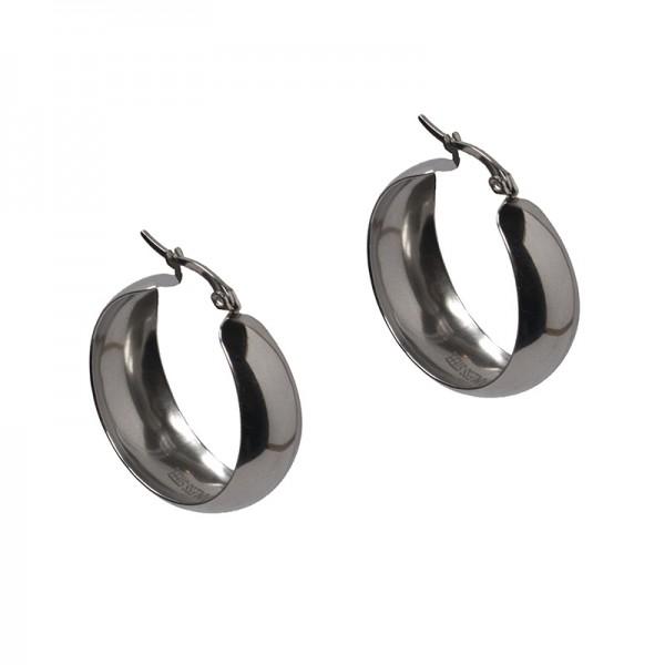 Jt Thick stainless steel hoop earrings 2.5cm