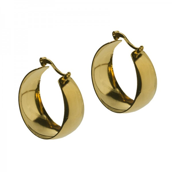 Jt Thick gold plated stainless steel hoop earrings 2.7cm