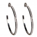 Jt Statement stainless steel hoop earrings with rhinestone