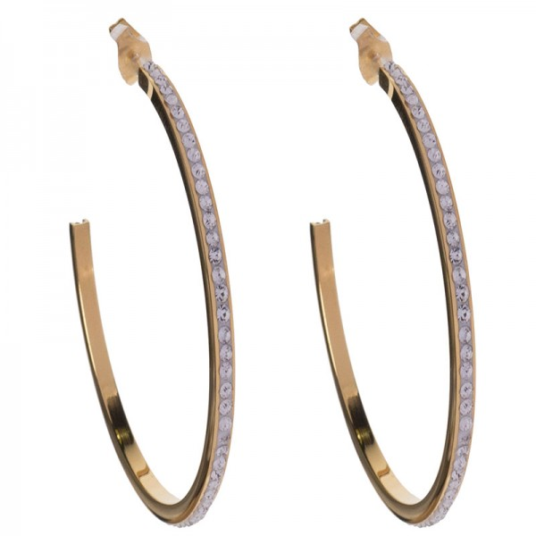 Jt Statement gold stainless steel hoop earrings with rhinestone