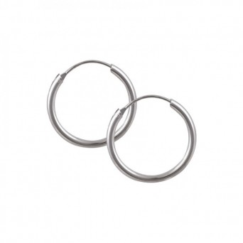 Jt Men's silver hoop earrings 1.8 cm