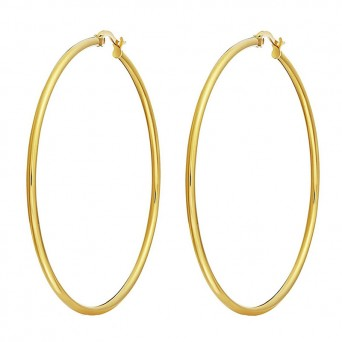 Jt Big golden stainless steel hoop earrings 8.2cm