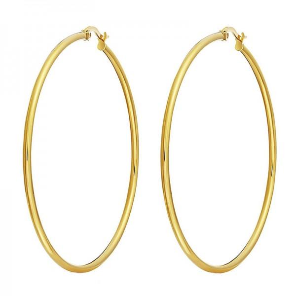 Jt Big golden stainless steel hoop earrings 8.2cm