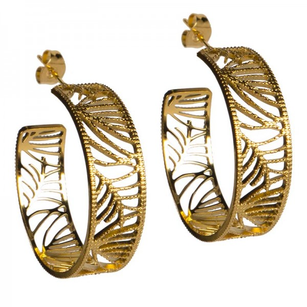 Jt Statement gold stainless steel hoop earring repoussé