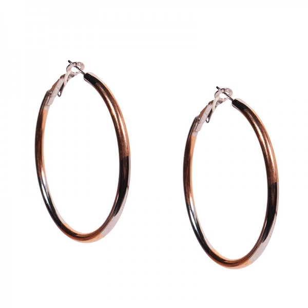 Jt Medium two tone stainless steel hoop earrings 4.5cm