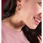 Jt Σκουλαρίκια κρίκοι διπλοί ροζ χρυσό ατσάλι με λευκά στρας