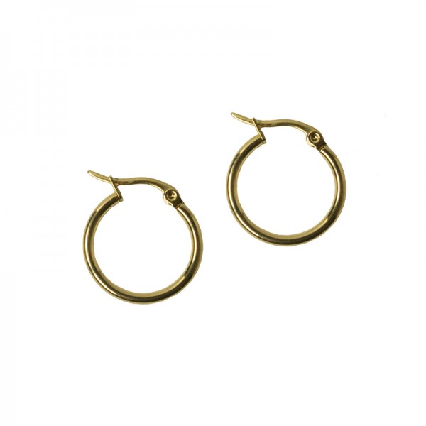 Jt Small gold plated steel hoop earrings 1.6cm