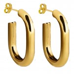 Jt Ατσάλινα σκουλαρίκια κρίκοι οβάλ χρυσοί