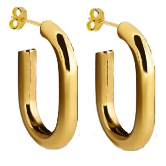 Jt Stainless steel gold oval hoop earrings