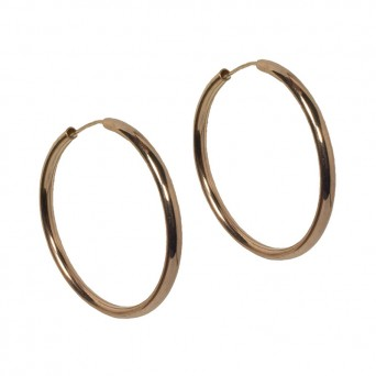 Jt Rose gold plated silver medium hoop earrings 3.5cm