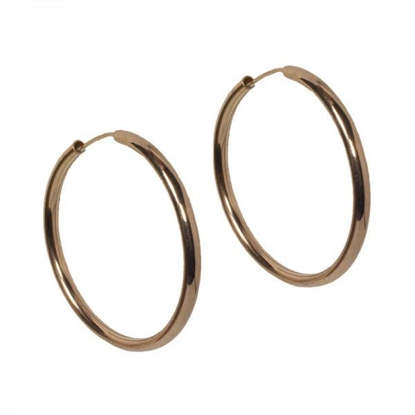 Jt Rose gold plated silver medium hoop earrings 3.5cm