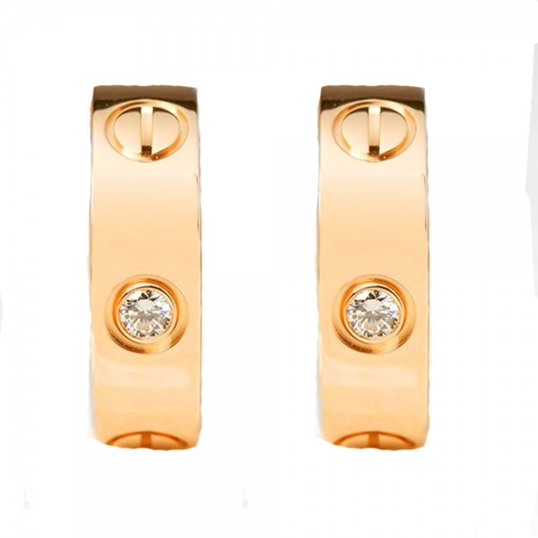 Jt Steel hoop earrings rose gold 'theta' with crystals 2cm