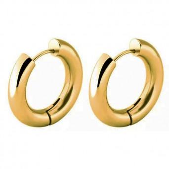 Jt Medium golden stainless steel hoop earrings 1.9cm