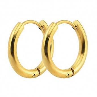 Jt Small gold stainless steel hoop earrings 1.2cm
