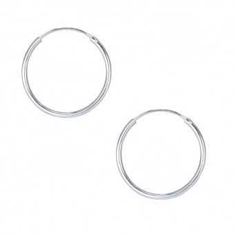 Jt Unisex  silver hoop earrings 1.9 cm