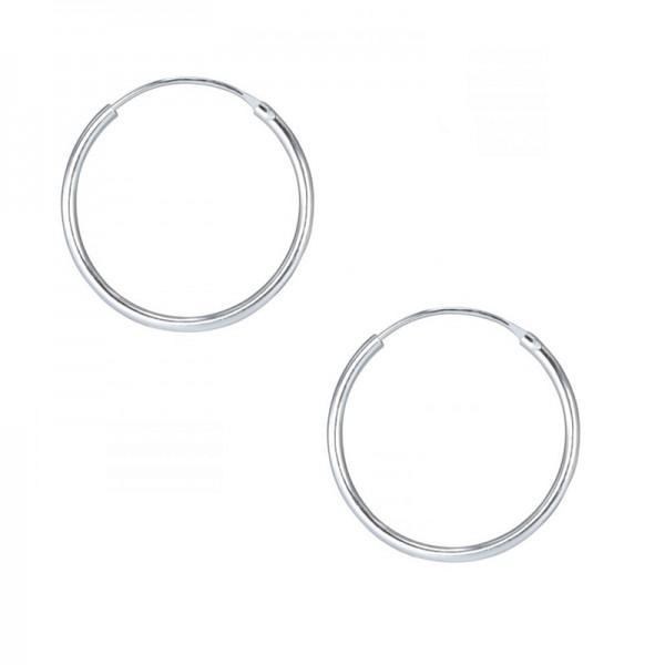 Jt Unisex  silver hoop earrings 1.9 cm