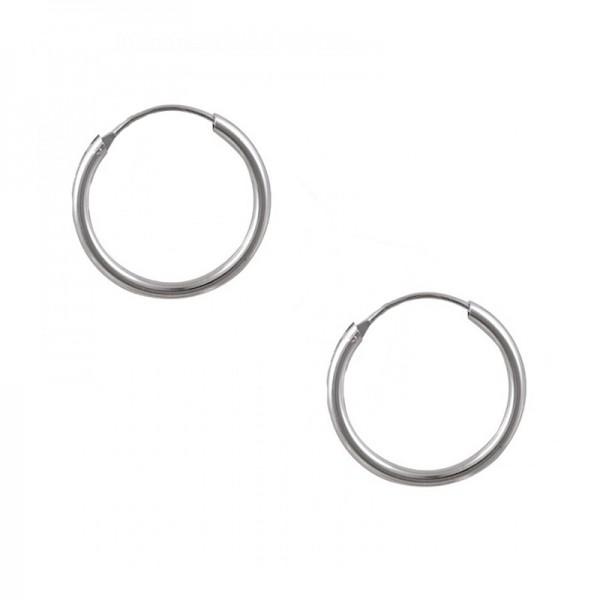 Jt Men's and women's silver small hoop earrings 1.6 cm