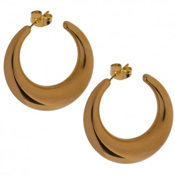 Jt Statement gold stainless steel half moon earrings