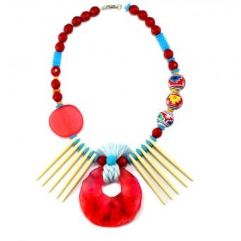 Jt Silver statement boho beaded necklace