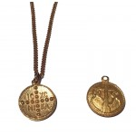Jt Gold Plated Bronze Double Sided Konstantine Coin Necklace