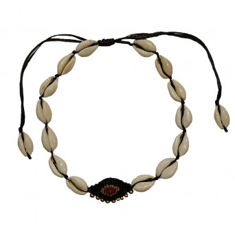 Jt Seashell boho macrame evil eye choker necklace