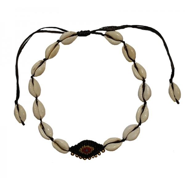Jt Seashell boho macrame evil eye choker necklace
