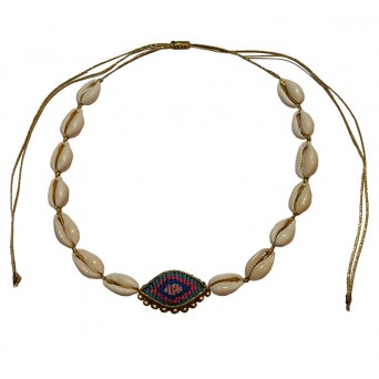 Jt Seashell boho macrame blue evil eye choker necklace