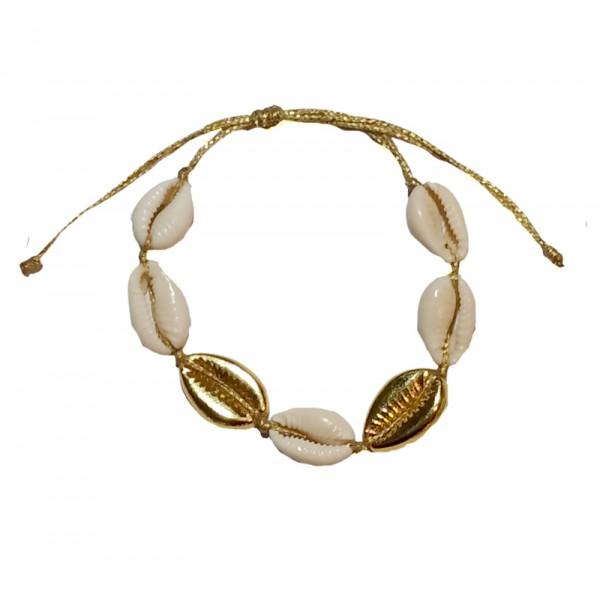 Jt Gold Bronze and white Seashells bracelet