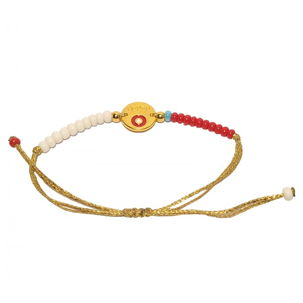 Jt Gold Plated Coin Eye March Bracelet