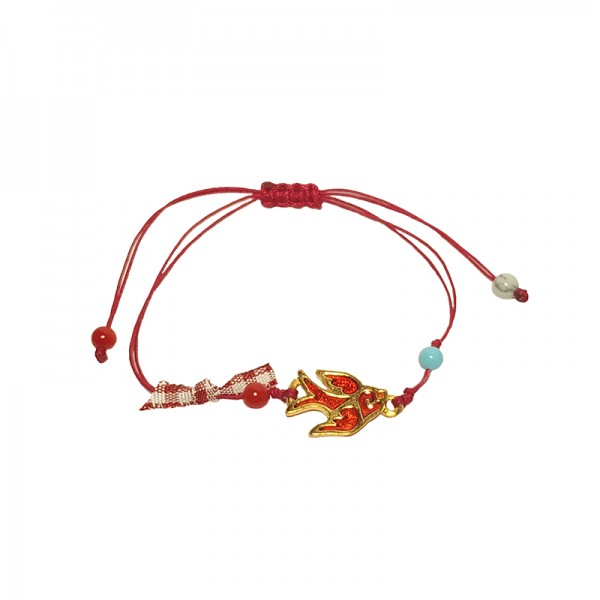 Jt Gold Plated Swallow March Bracelet Red Cord