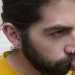 Jt Ατσάλινα καρφωτά ανδρικά σκουλαρίκια σπείρα 8mm
