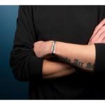 Bokaris Ανδρικό ασημένιο βραχιόλι ταυτότητα με καφέ δέρμα