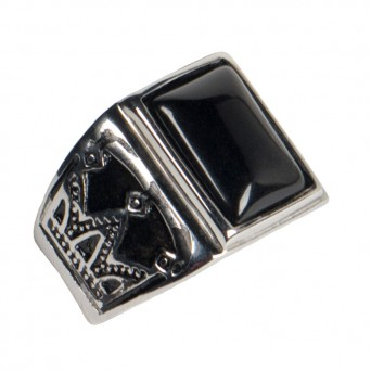 Jt Men's Stainless Steel Ring with Black Stone