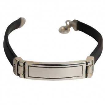 Jt Men's Silver ID Rectangle Bracelet with black rubber