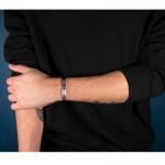 Jt Men's Silver ID Rectangle Bracelet with black rubber