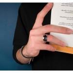 Jt Ασημένιο ανδρικό δαχτυλίδι μαύρος σταυρός Μάλτας