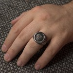 Jt Men's Signet Evil Eye Stainless Steel Ring