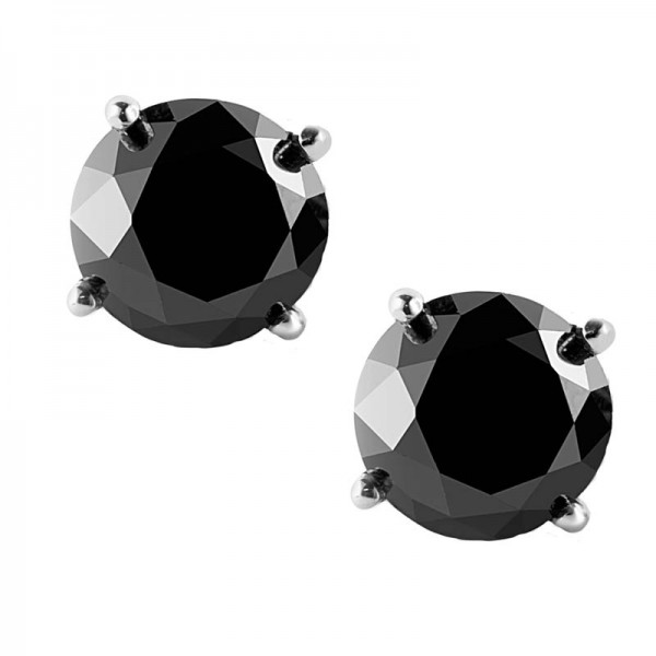 Jt Silver Big Black Zirconia Solitaire Stud Men's Earrings 9mm